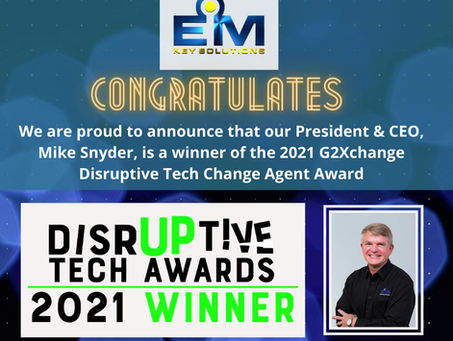 President & CEO, Mike Snyder, is a 2021 G2Xchange Disruptive Tech Change Agent Award Winner!