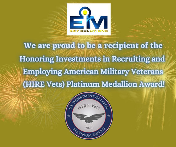 EMKS is being recognized by the U.S. Department of Labor for a HIRE Vets Platinum Medallion Award!