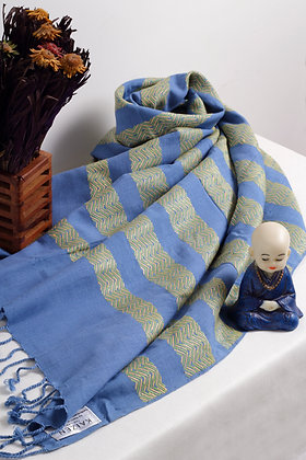 """Zigzag - Blue"" eri silk handloom stole"