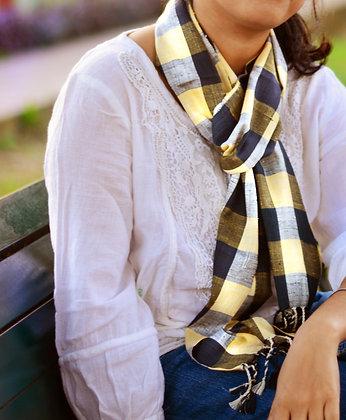 """Gingham style - Yellow"" eri silk handloom scarf"