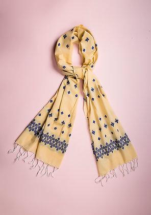 """""""Minakara Blue on Yellow"""" handloom stole"""