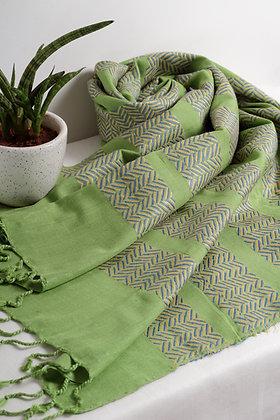 """Zigzag - Green"" eri silk handloom stole"