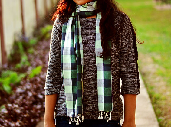 """Gingham style - Green"" eri silk handloom scarf"
