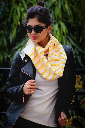 """Chic chevron - yellow & orange"" handloom stole"