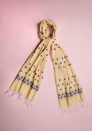 """""""Minakara Pink on Yellow"""" handloom stole"""