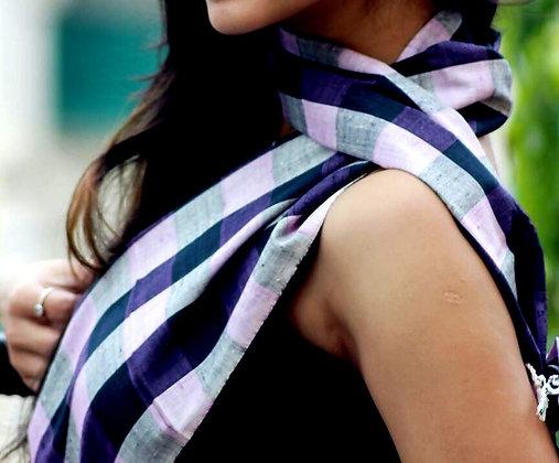 """Gingham style - Purple"" eri silk handloom scarf"