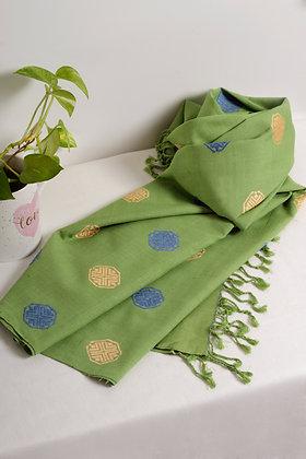 """Bloom - Green"" eri silk handloom stole"