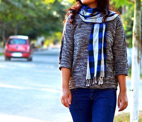 """Gingham style - Blue"" eri silk handloom scarf"