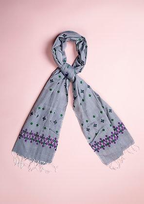 """""""Minakara Purple on Grey"""" handloom stole"""