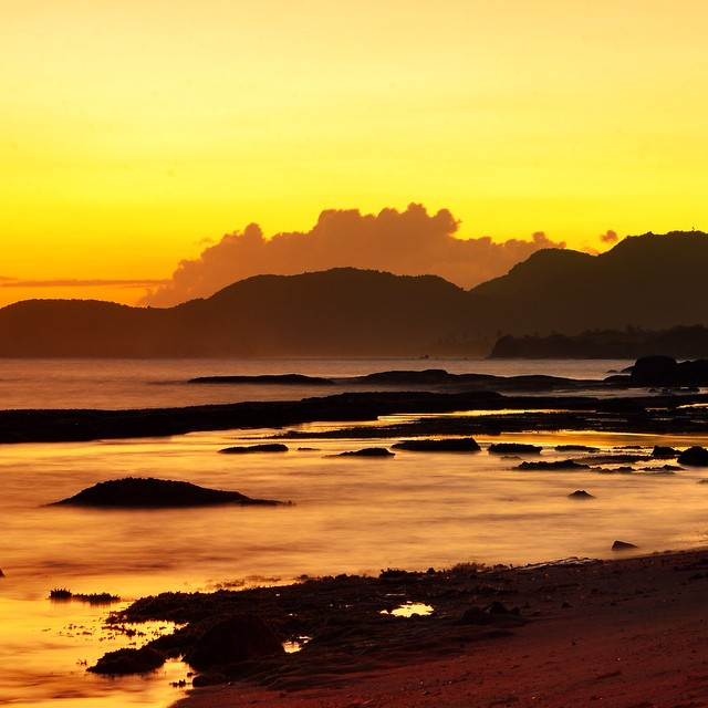 Golden sunset, Esperanza beach on the island of Vieques in Puerto Rico