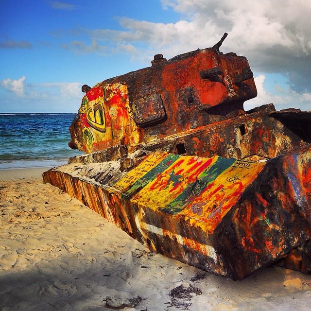 Cliche tourist photo op_ the kinda famous abandoned tanker on Flamenco Beach