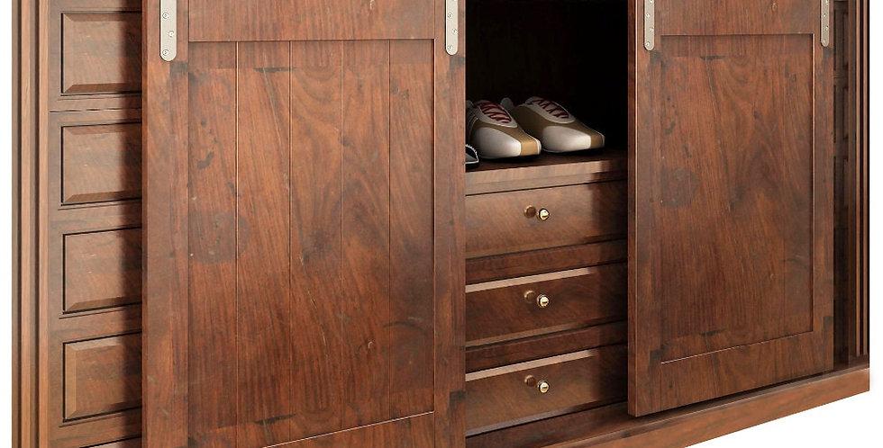 Brushed Stainless Steel Double Sliding Cabinet Barn Door Hardware