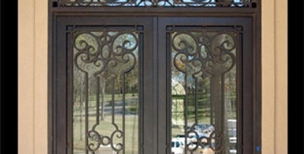 Iron  Doors Design With Transom and Dual Panel Glass