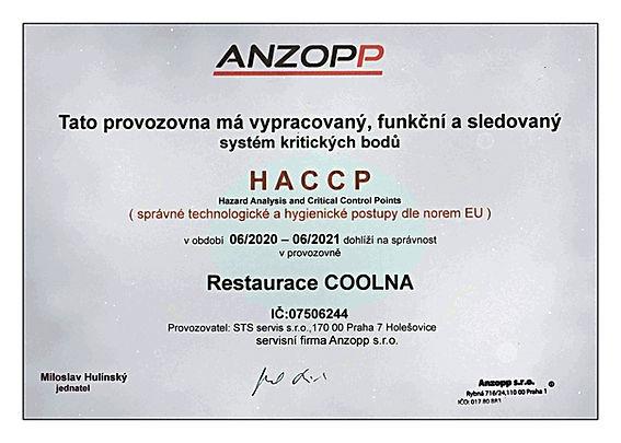 certifikát správných technologických a hygienických postupů dle norem EU