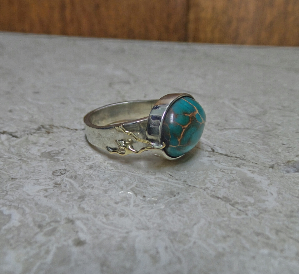 Sterling & 14kt Turquoise Ring