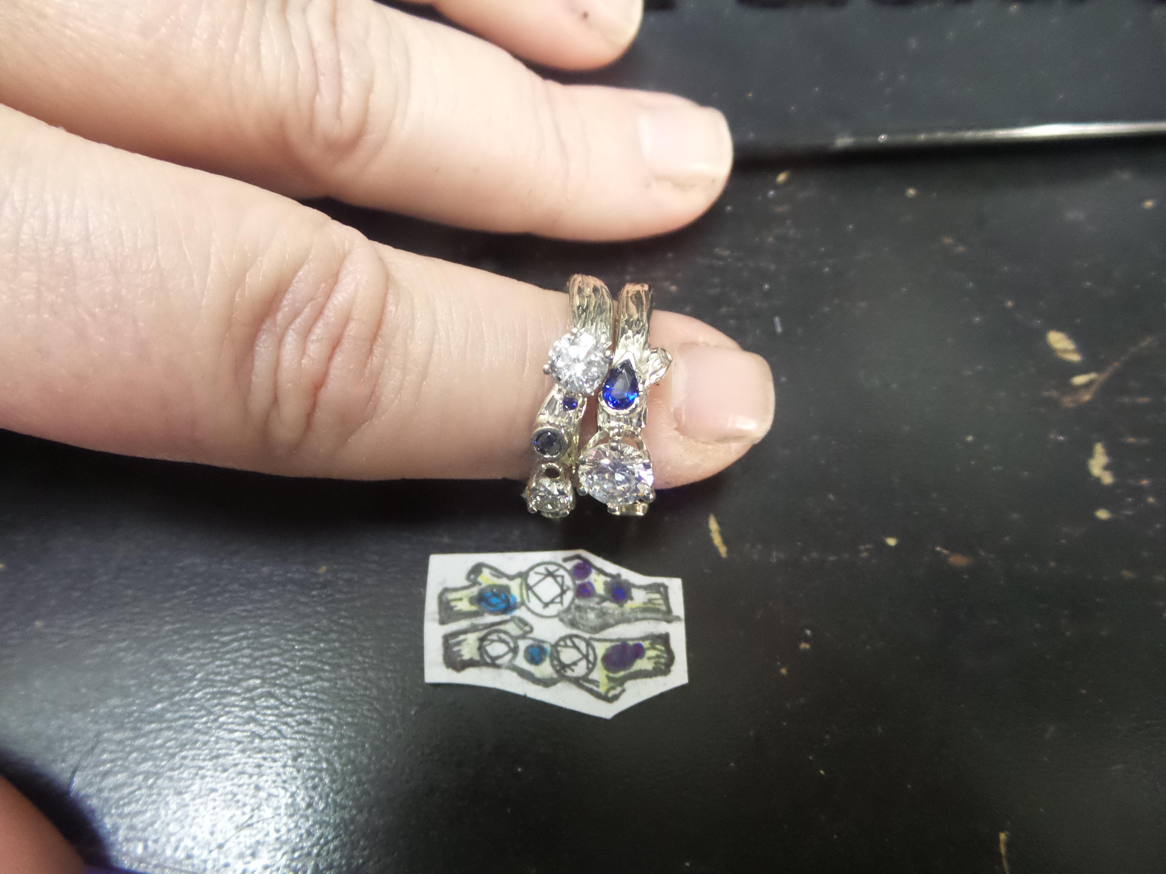 Sapphire & Diamond Branch Ring