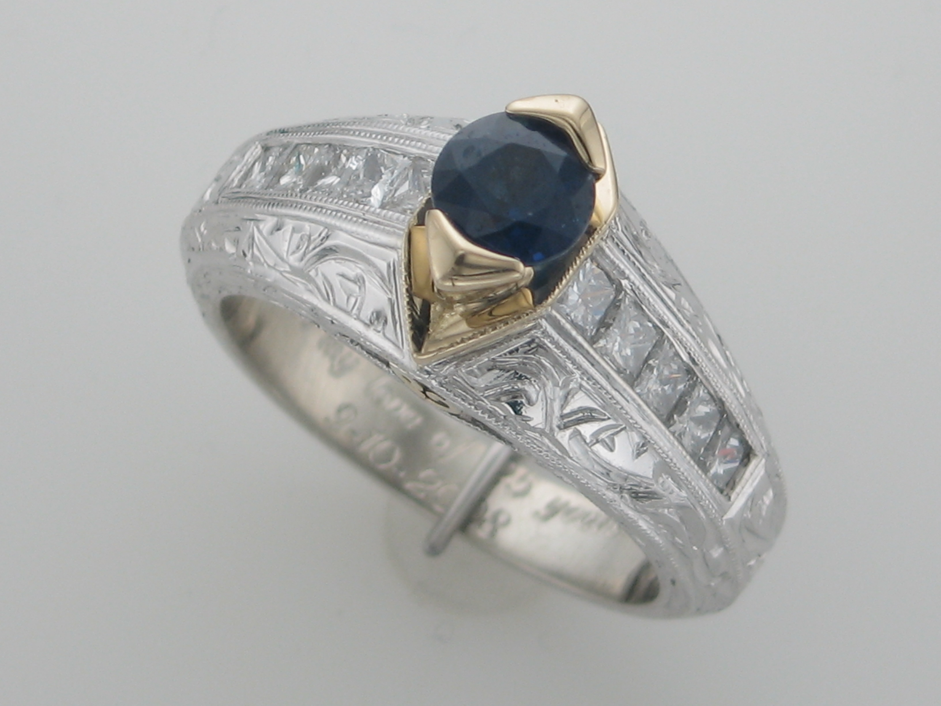 Two Tone Sapphire & Diamond Ring
