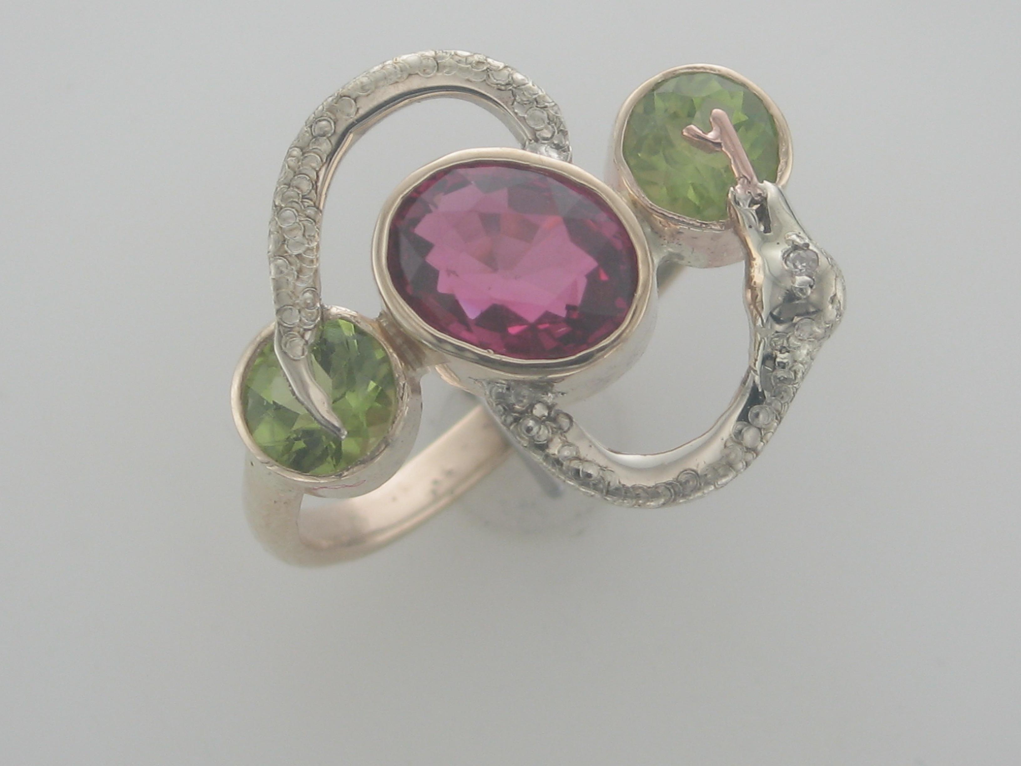 Tourmaline & Peridot Snake Ring