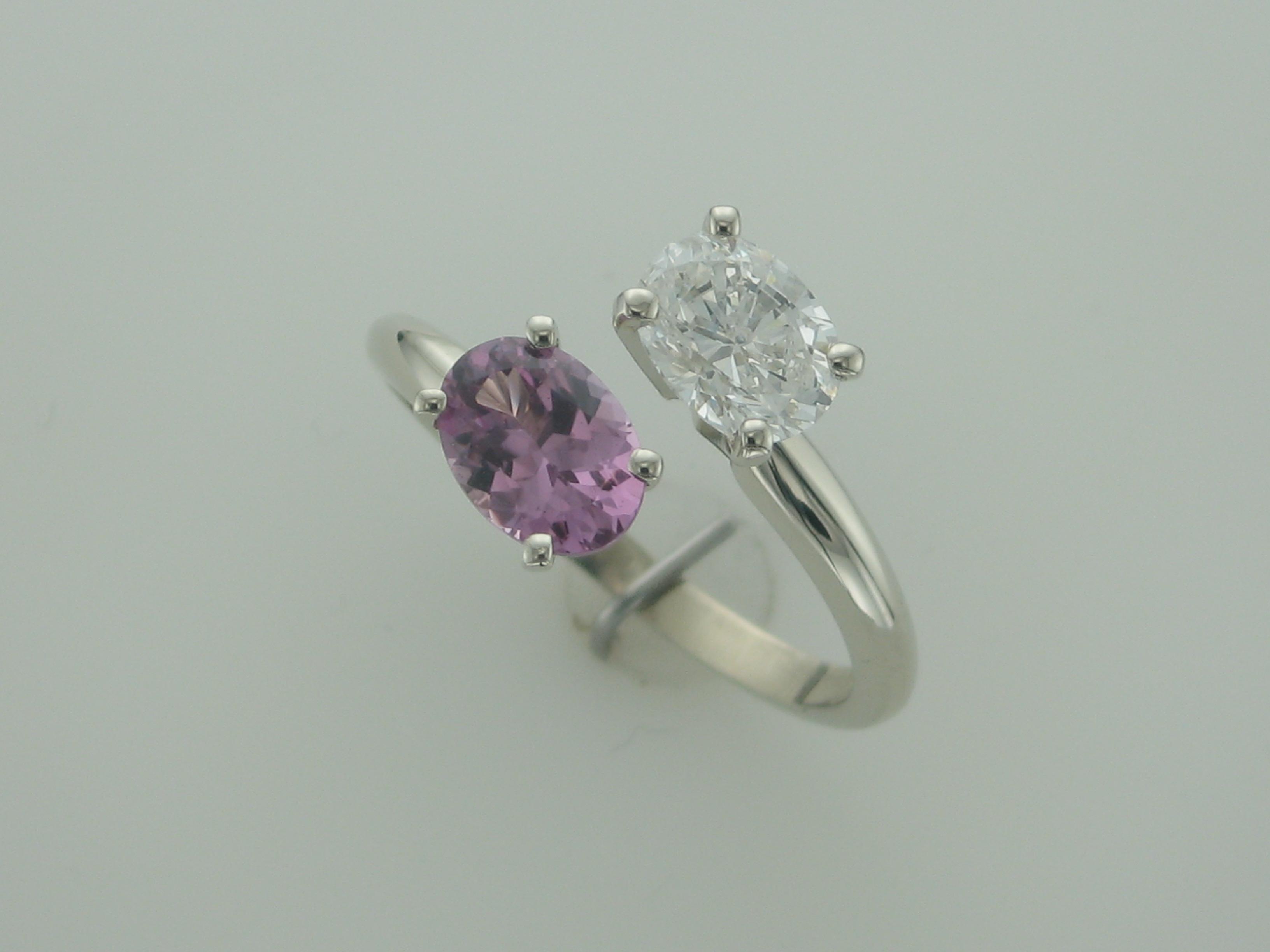 Diamond & Pink Sapphire Bypass Ring
