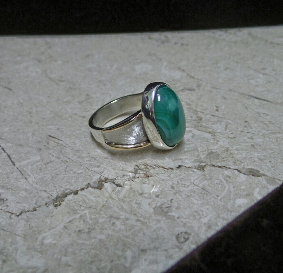 Sterling & 14kt Malachite Ring