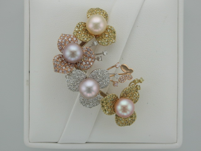 White, Yellow, & Pink Diamond Brooch