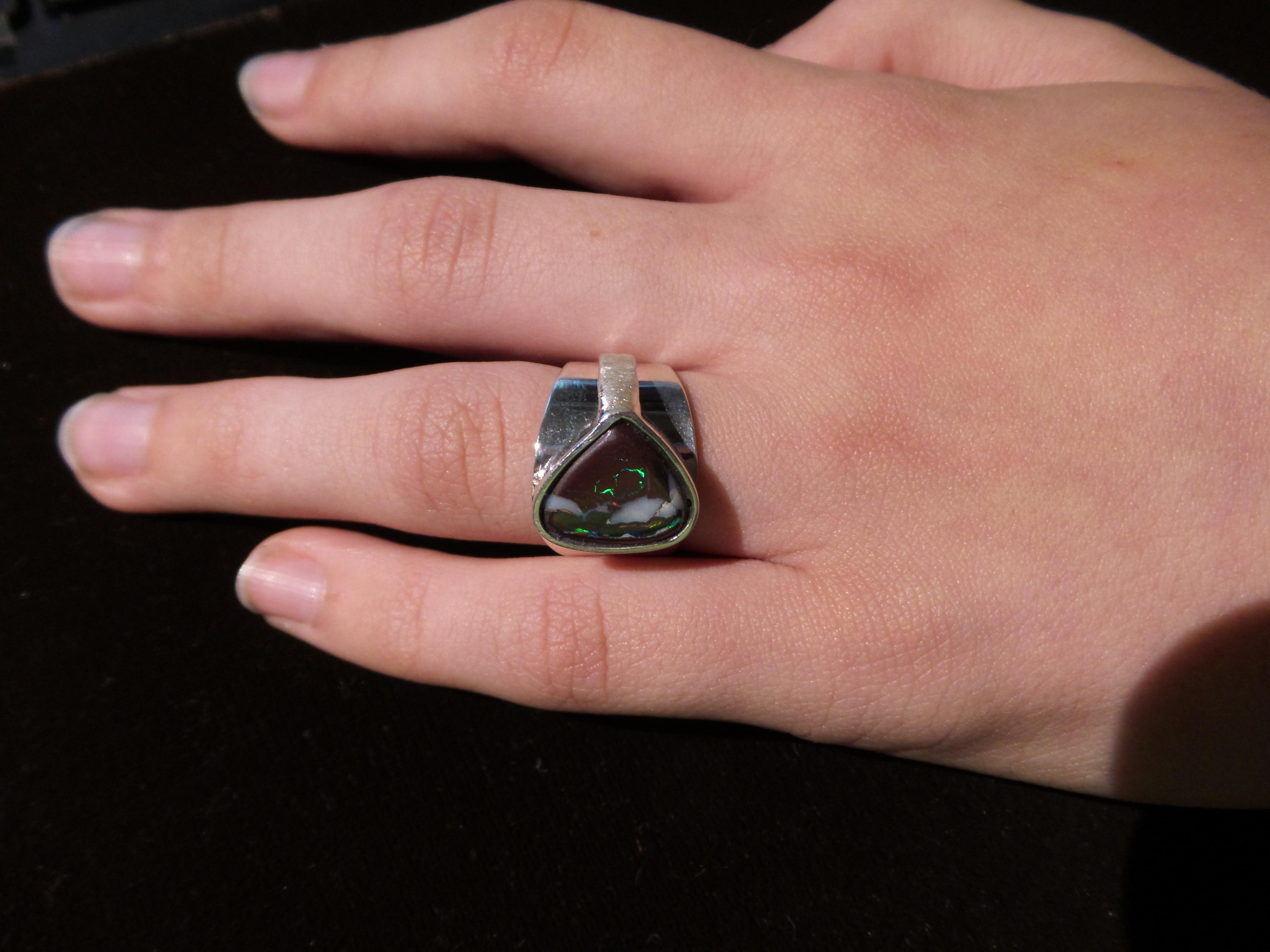 Sterling Boulder Opal Ring