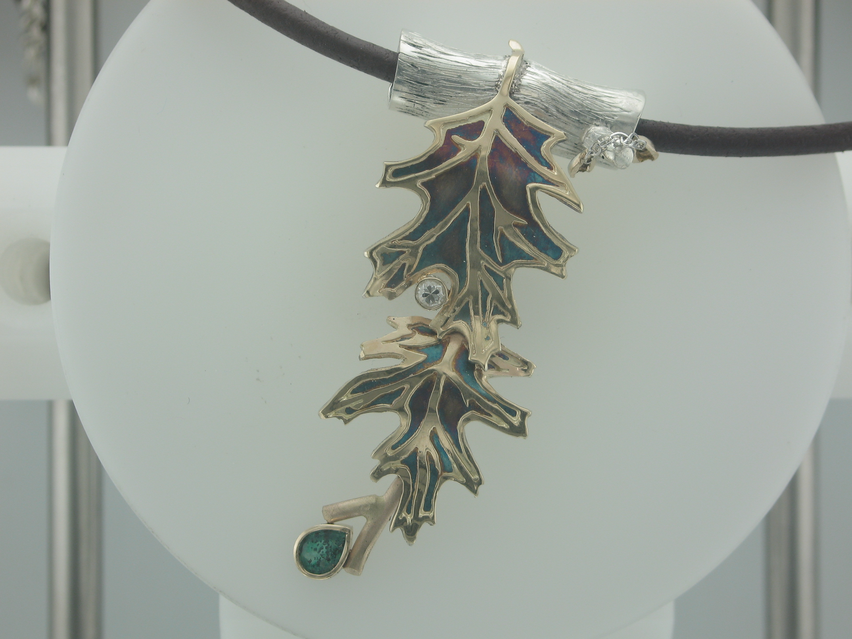 Oxidized Silver & Gold Oak Leaves