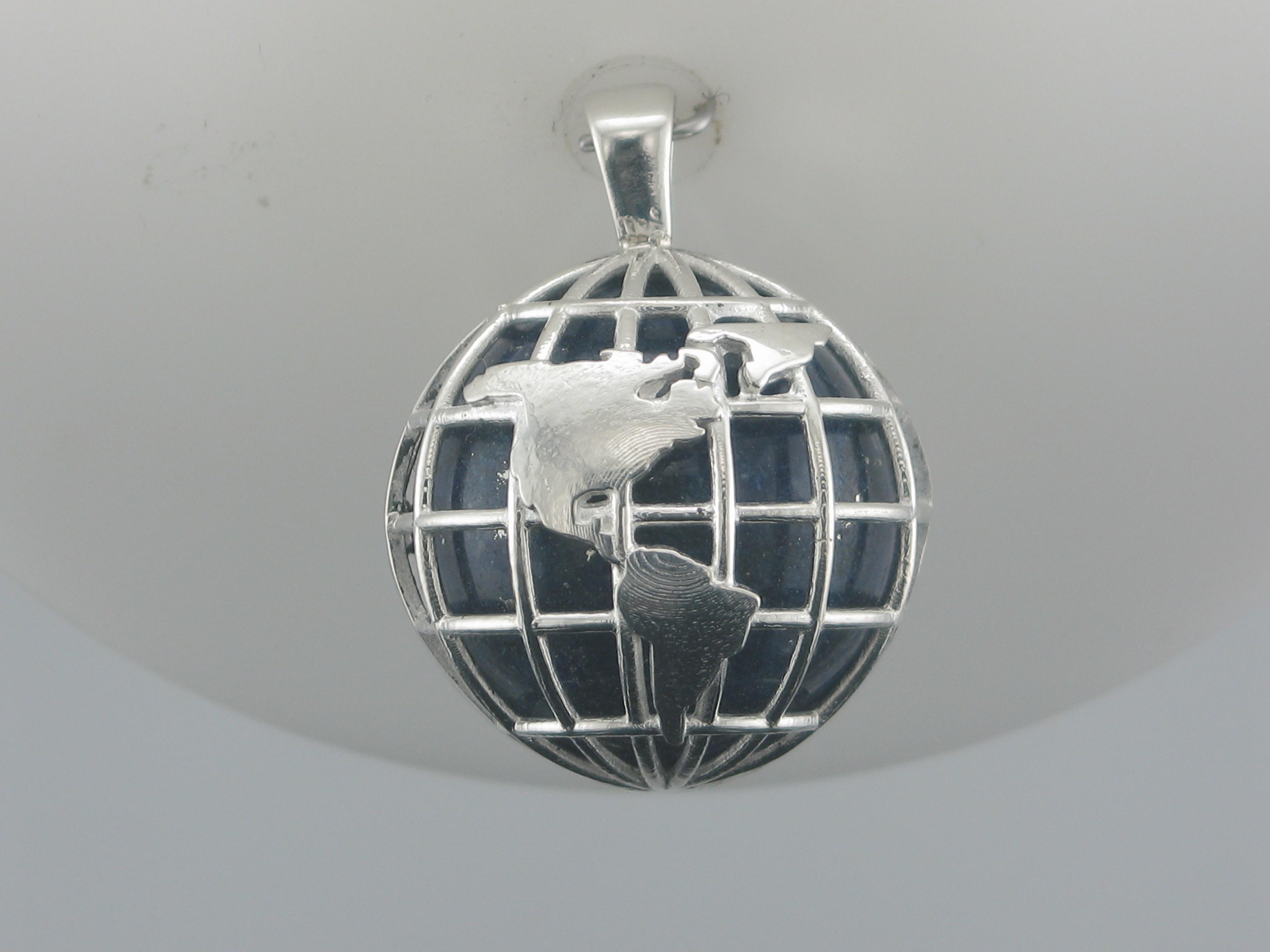 Silver & Lapis Globe Pendant