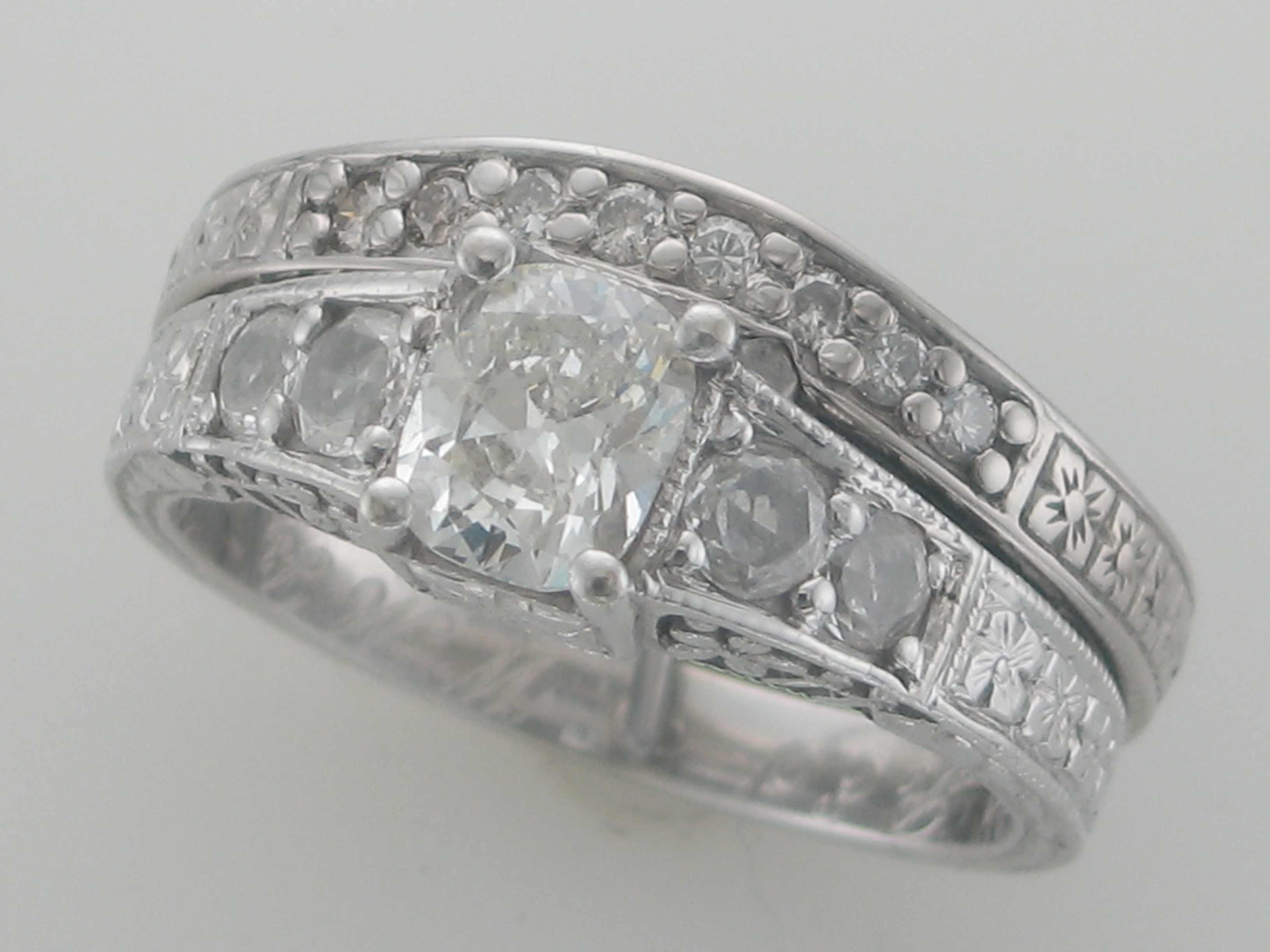 Carved Engagement Ring & Band