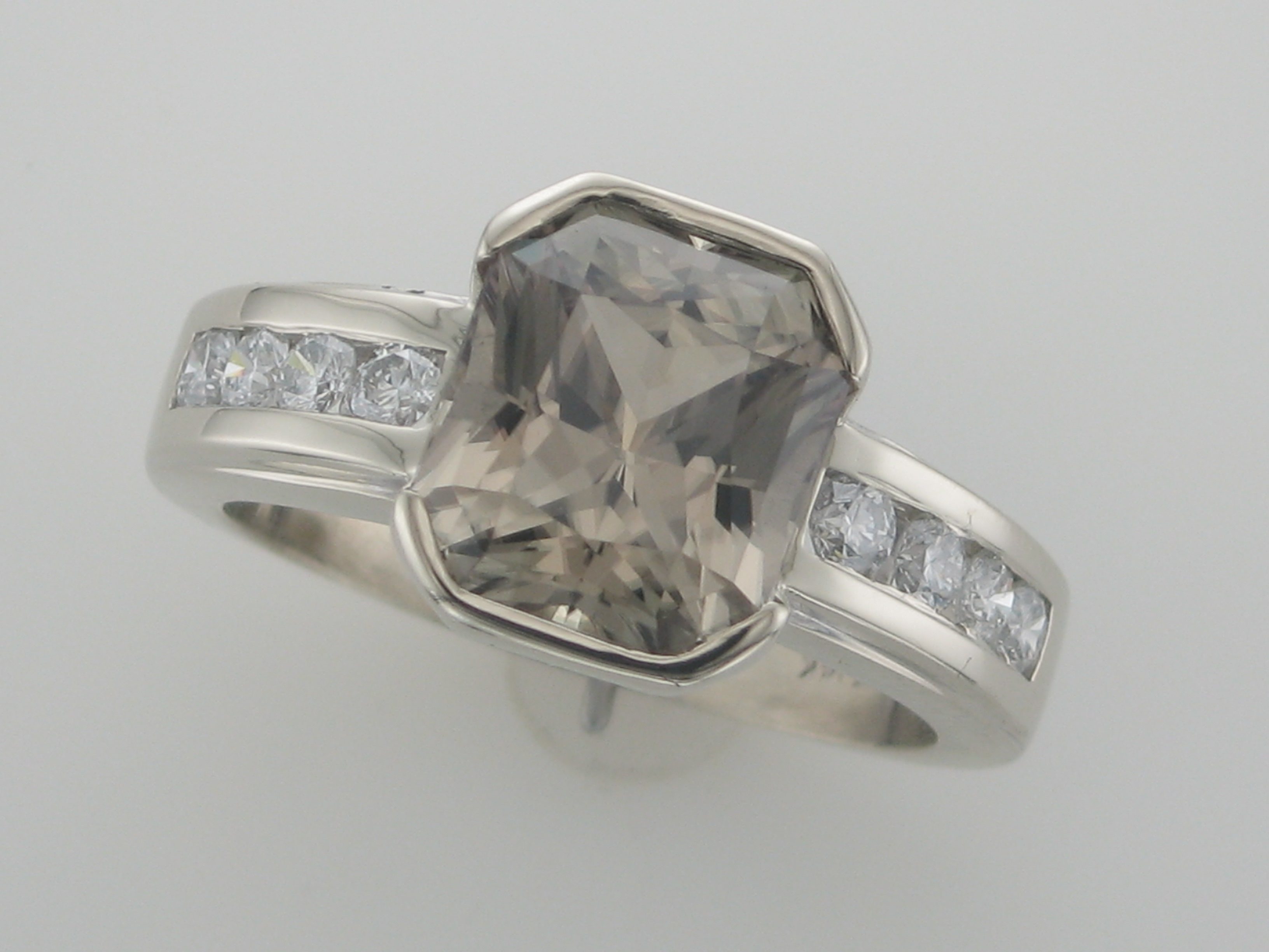 Zultanite & Diamond Channel Ring