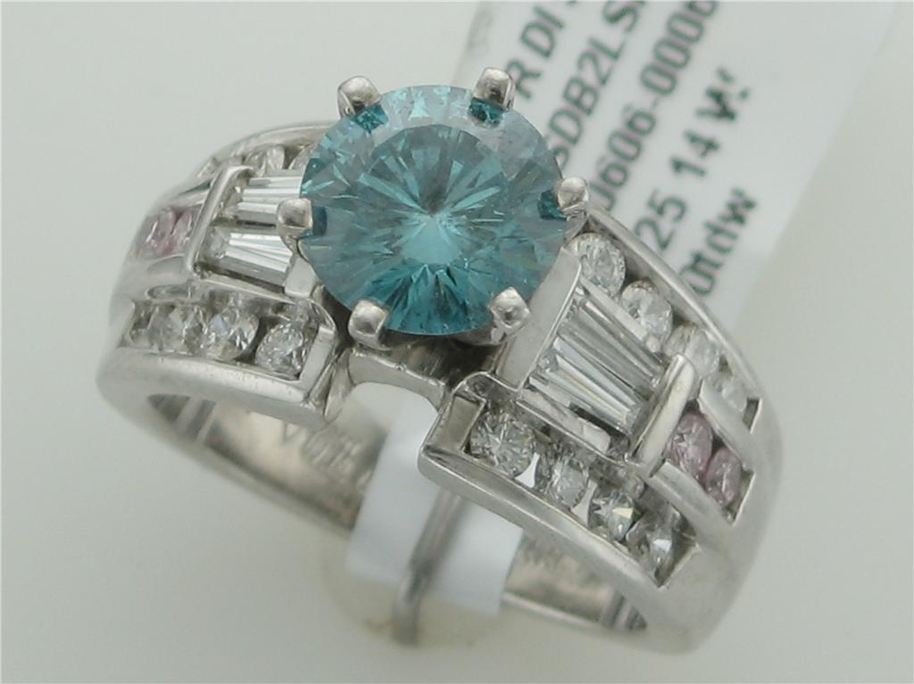 Blue, White, & Pink Dia Eng Ring