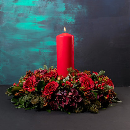 Crimson Candle Arrangement