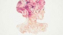 Multiple exposure of a lady and peony