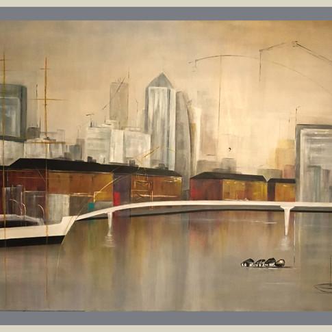 SOLD  Fragata en el Puente, 80x110  SOLD