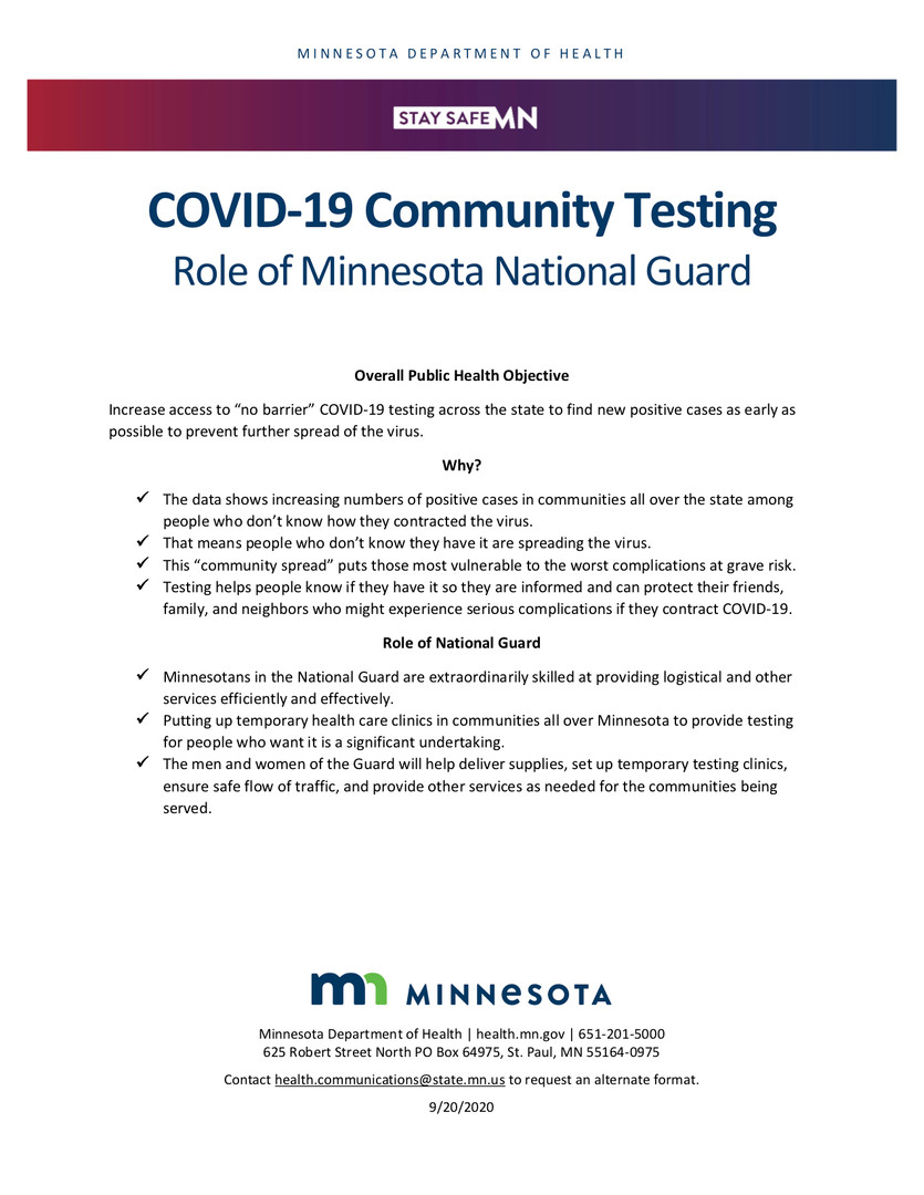 MN National Guard role in community testing