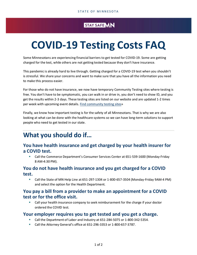 COVID-19 Testing Costs FAQ Page 1
