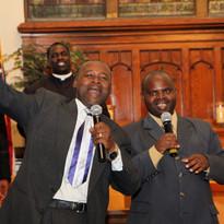 2015 ICA Bishop Nshimiyimana & Elder Emmanuel greeting the Assembly