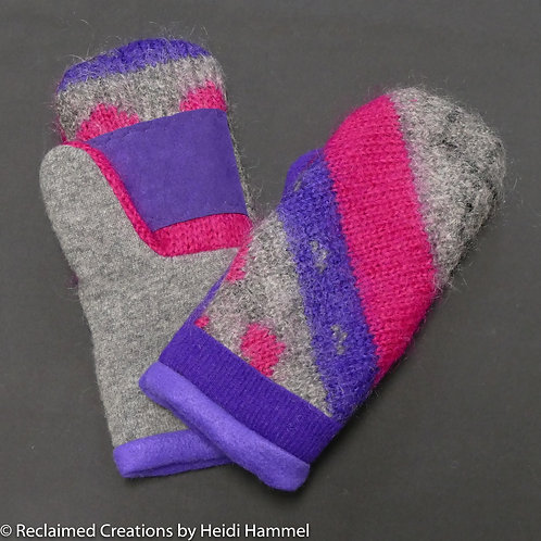 Angora & Cashmere Mittens with leather palm