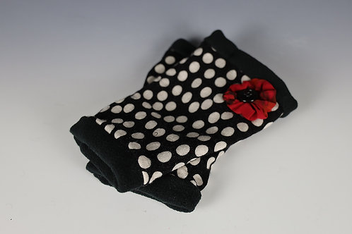 Fingerless Mittens - Black, Red and White All Over