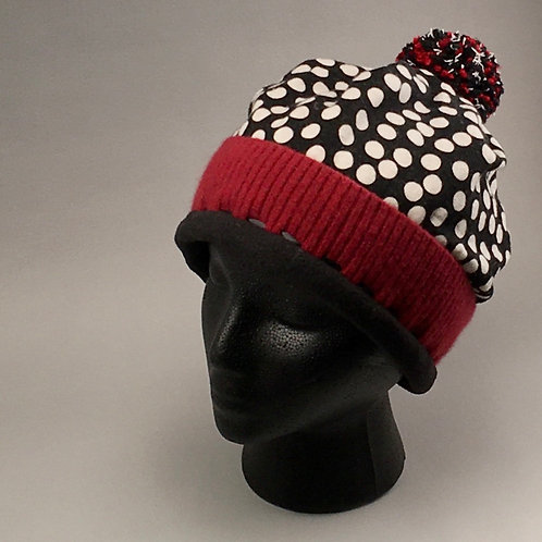 Beanie - Black, Red and White All Over