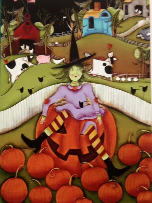 """Witch on Pumpkin"" on monks cloth"