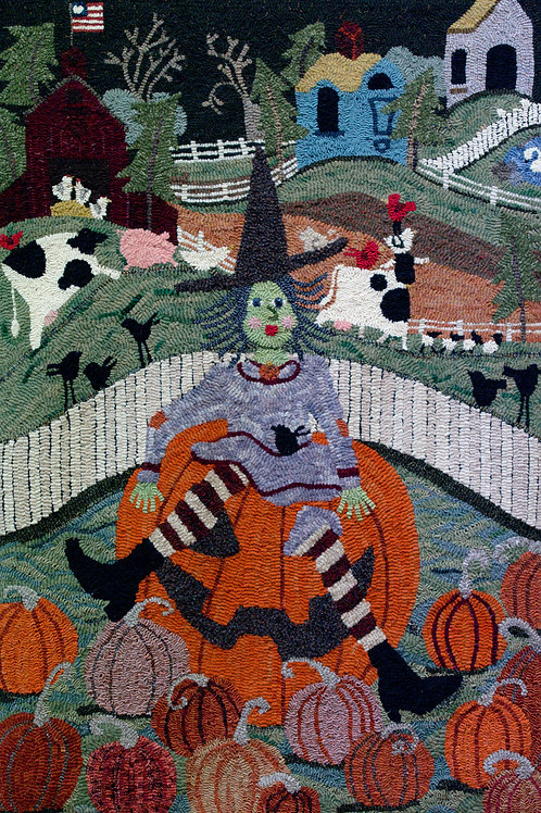 """Witch on Pumpkin"" on Linen"