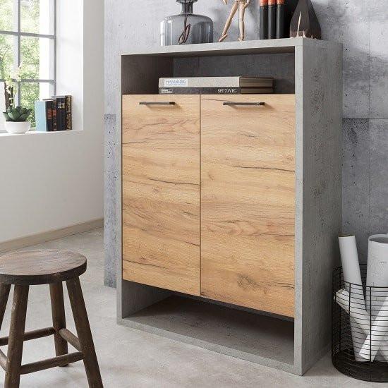 Paseo Storage Cabinet In Light Concrete Golden Oak