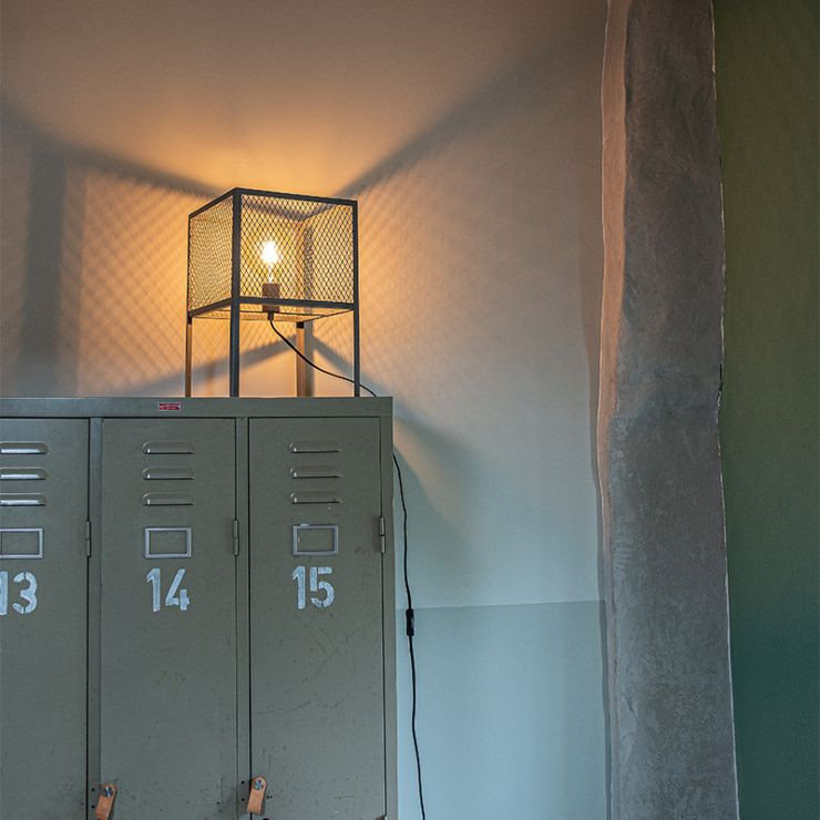 Industrial table lamp antique silver