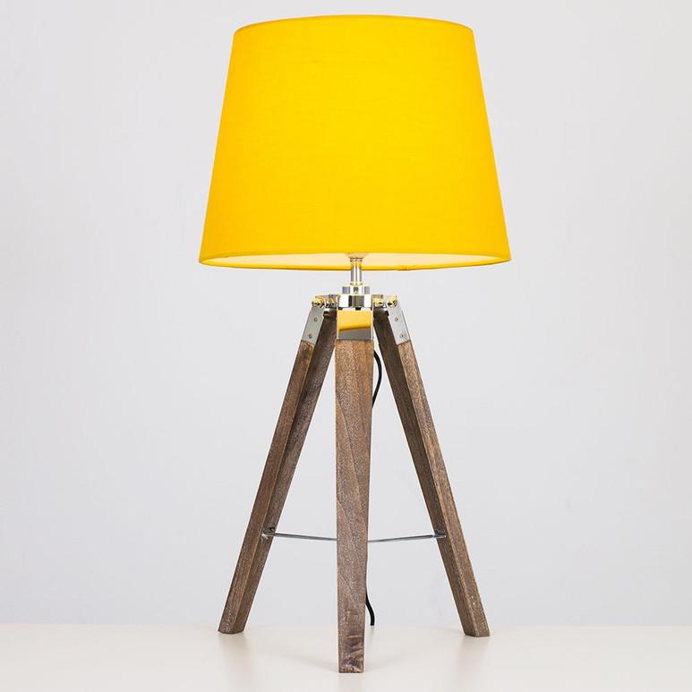 CLIPPER LIGHT WOOD TRIPOD TABLE LAMP