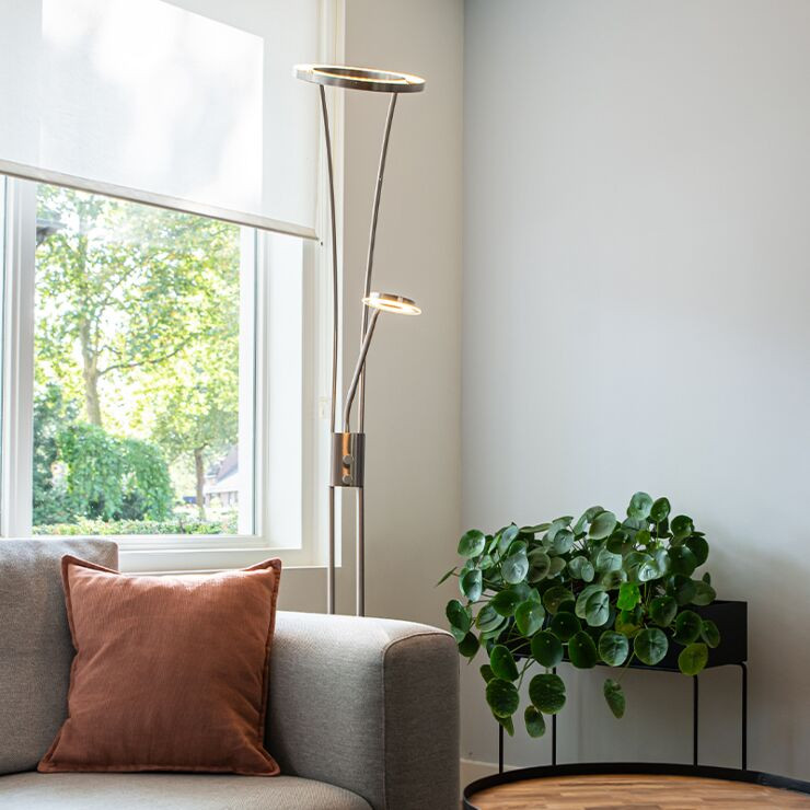 Modern floor lamp steel and glass