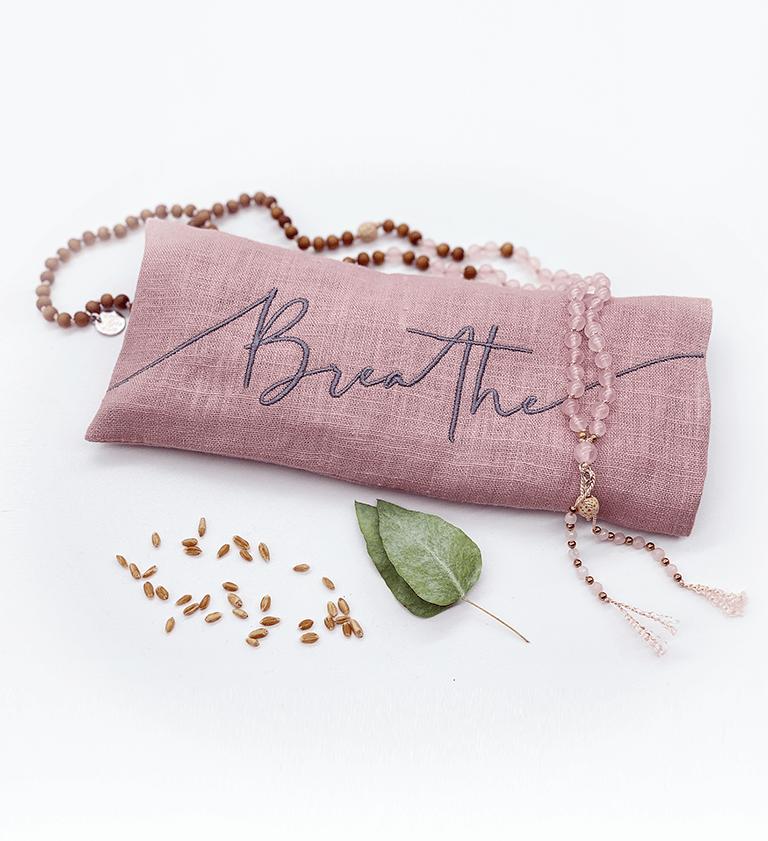 Breathe Embroidered Lavender Eye Pillow