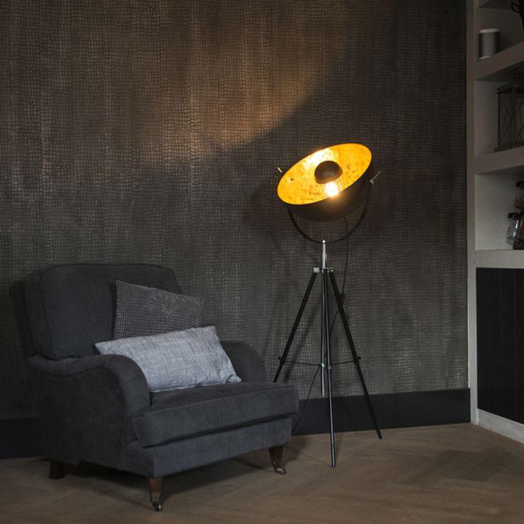 Industrial floor lamp tripod black
