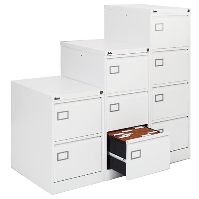 Executive White Filing Cabinet 4 Drawer