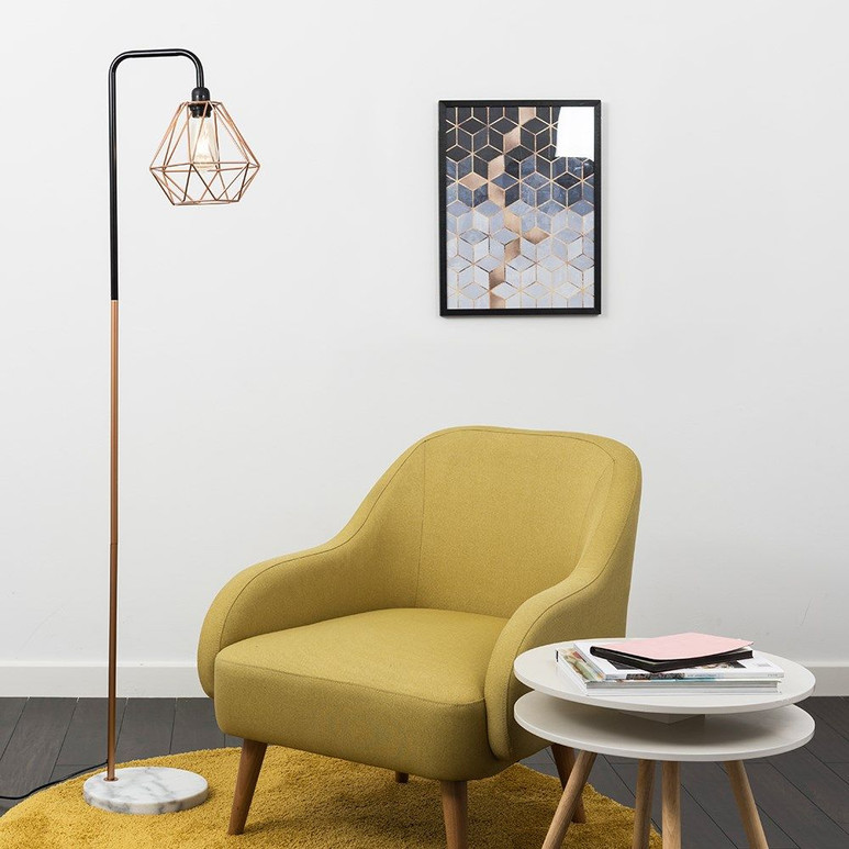 TALISMAN BLACK AND COPPER FLOOR LAMP